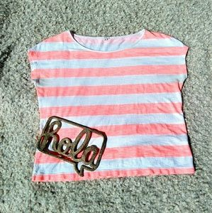 J. Crew XS coral/cream striped wide tee